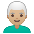 Man: Medium-Light Skin Tone, White Hair on Google Android 10.0 March 2020 Feature Drop