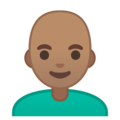 Man: Medium Skin Tone, Bald on Google Android 10.0 March 2020 Feature Drop