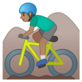 Man Mountain Biking: Medium Skin Tone on Google Android 10.0 March 2020 Feature Drop