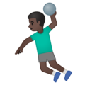 Man Playing Handball: Dark Skin Tone on Google Android 10.0 March 2020 Feature Drop