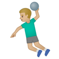 Man Playing Handball: Medium-Light Skin Tone on Google Android 10.0 March 2020 Feature Drop