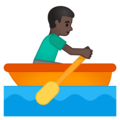 Man Rowing Boat: Dark Skin Tone on Google Android 10.0 March 2020 Feature Drop