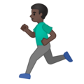 Man Running: Dark Skin Tone on Google Android 10.0 March 2020 Feature Drop