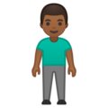 Man Standing: Medium-Dark Skin Tone on Google Android 10.0 March 2020 Feature Drop