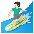 Man Surfing: Light Skin Tone on Google Android 10.0 March 2020 Feature Drop