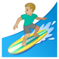 Man Surfing: Medium-Light Skin Tone on Google Android 10.0 March 2020 Feature Drop