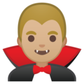 Man Vampire: Medium-Light Skin Tone on Google Android 10.0 March 2020 Feature Drop