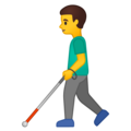 Man with White Cane on Google Android 10.0 March 2020 Feature Drop