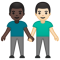 Men Holding Hands: Dark Skin Tone, Light Skin Tone on Google Android 10.0 March 2020 Feature Drop