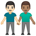 Men Holding Hands: Light Skin Tone, Medium Skin Tone on Google Android 10.0 March 2020 Feature Drop
