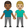 Men Holding Hands: Medium-Dark Skin Tone, Medium-Light Skin Tone on Google Android 10.0 March 2020 Feature Drop
