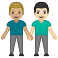 Men Holding Hands: Medium-Light Skin Tone, Light Skin Tone on Google Android 10.0 March 2020 Feature Drop