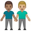 Men Holding Hands: Medium Skin Tone, Medium-Light Skin Tone on Google Android 10.0 March 2020 Feature Drop