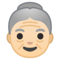 Old Woman: Light Skin Tone on Google Android 10.0 March 2020 Feature Drop