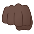 Oncoming Fist: Dark Skin Tone on Google Android 10.0 March 2020 Feature Drop