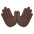 Open Hands: Dark Skin Tone on Google Android 10.0 March 2020 Feature Drop