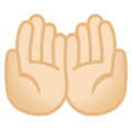 Palms Up Together: Light Skin Tone on Google Android 10.0 March 2020 Feature Drop