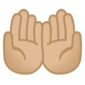 Palms Up Together: Medium-Light Skin Tone on Google Android 10.0 March 2020 Feature Drop
