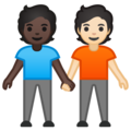 People Holding Hands: Dark Skin Tone, Light Skin Tone on Google Android 10.0 March 2020 Feature Drop