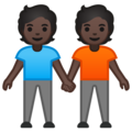 People Holding Hands: Dark Skin Tone on Google Android 10.0 March 2020 Feature Drop