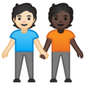 People Holding Hands: Light Skin Tone, Dark Skin Tone on Google Android 10.0 March 2020 Feature Drop