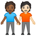 People Holding Hands: Medium-Dark Skin Tone, Light Skin Tone on Google Android 10.0 March 2020 Feature Drop