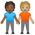 People Holding Hands: Medium-Dark Skin Tone, Medium-Light Skin Tone on Google Android 10.0 March 2020 Feature Drop