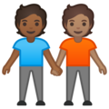 People Holding Hands: Medium-Dark Skin Tone, Medium Skin Tone on Google Android 10.0 March 2020 Feature Drop