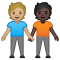 People Holding Hands: Medium-Light Skin Tone, Dark Skin Tone on Google Android 10.0 March 2020 Feature Drop