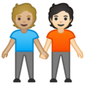 People Holding Hands: Medium-Light Skin Tone, Light Skin Tone on Google Android 10.0 March 2020 Feature Drop