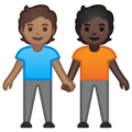 People Holding Hands: Medium Skin Tone, Dark Skin Tone on Google Android 10.0 March 2020 Feature Drop