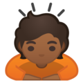 Person Bowing: Medium-Dark Skin Tone on Google Android 10.0 March 2020 Feature Drop