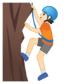 Person Climbing: Light Skin Tone on Google Android 10.0 March 2020 Feature Drop