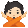 Person Gesturing No: Light Skin Tone on Google Android 10.0 March 2020 Feature Drop