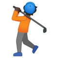 Person Golfing: Dark Skin Tone on Google Android 10.0 March 2020 Feature Drop