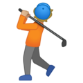 Person Golfing: Medium-Light Skin Tone on Google Android 10.0 March 2020 Feature Drop