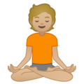 Person in Lotus Position: Medium-Light Skin Tone on Google Android 10.0 March 2020 Feature Drop