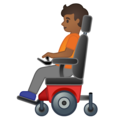 Person in Motorized Wheelchair: Medium-Dark Skin Tone on Google Android 10.0 March 2020 Feature Drop