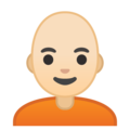 Person: Light Skin Tone, Bald on Google Android 10.0 March 2020 Feature Drop