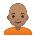 Person: Medium Skin Tone, Bald on Google Android 10.0 March 2020 Feature Drop