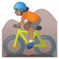 Person Mountain Biking: Medium Skin Tone on Google Android 10.0 March 2020 Feature Drop