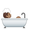 Person Taking Bath: Medium Skin Tone on Google Android 10.0 March 2020 Feature Drop
