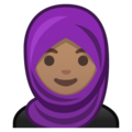 Woman with Headscarf: Medium Skin Tone on Google Android 10.0 March 2020 Feature Drop