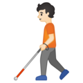 Person with White Cane: Light Skin Tone on Google Android 10.0 March 2020 Feature Drop