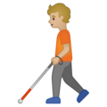Person with White Cane: Medium-Light Skin Tone on Google Android 10.0 March 2020 Feature Drop