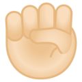 Raised Fist: Light Skin Tone on Google Android 10.0 March 2020 Feature Drop