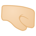 Right-Facing Fist: Light Skin Tone on Google Android 10.0 March 2020 Feature Drop