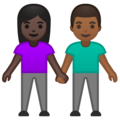Woman and Man Holding Hands: Dark Skin Tone, Medium-Dark Skin Tone on Google Android 10.0 March 2020 Feature Drop