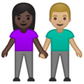 Woman and Man Holding Hands: Dark Skin Tone, Medium-Light Skin Tone on Google Android 10.0 March 2020 Feature Drop