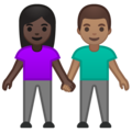 Woman and Man Holding Hands: Dark Skin Tone, Medium Skin Tone on Google Android 10.0 March 2020 Feature Drop